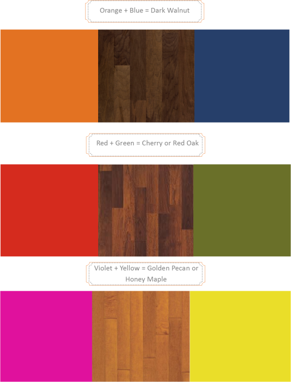 complementary colors & wood tones